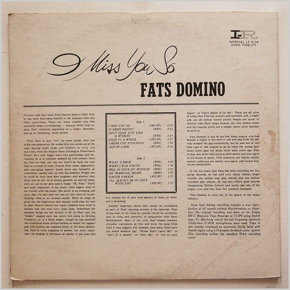 Fats Domino - Miss You So (LP-9138)