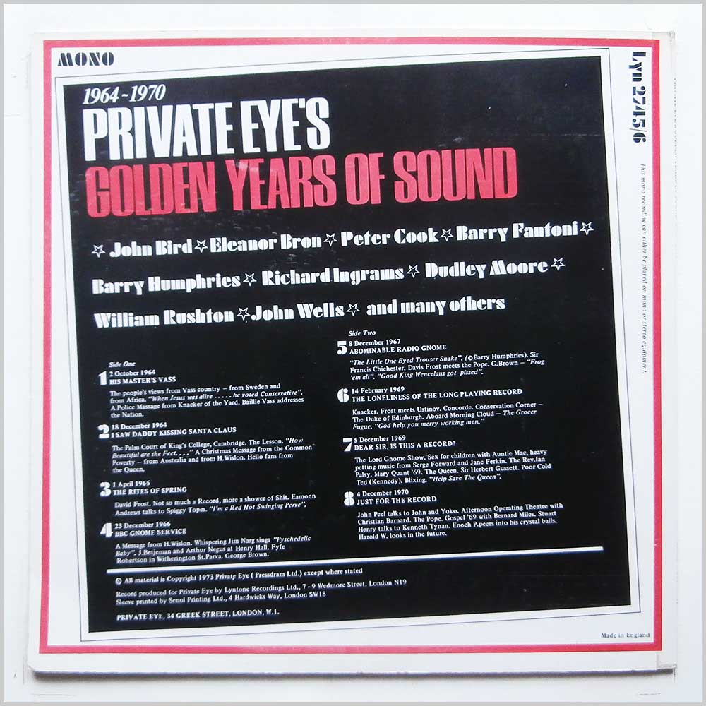 Various - Private Eye's Golden Years Of Sound 1964-1970 (LYN 2745/6)