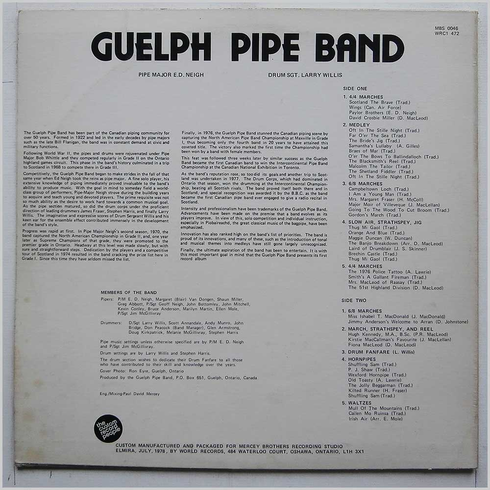 Guelph Pipe Band - Guelph Pipe Band (MBS 0046)