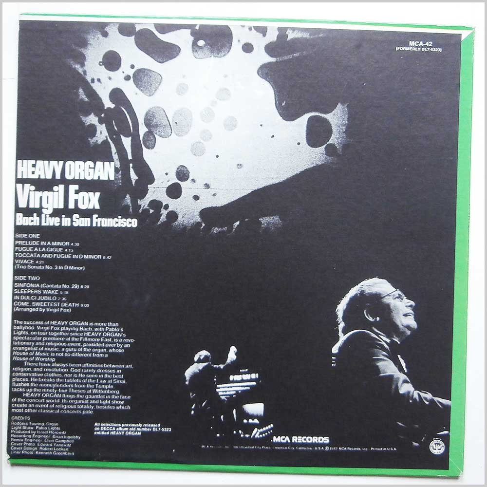 Virgil Fox - Heavy Organ: Bach Live in San Francisco (MCA-42)