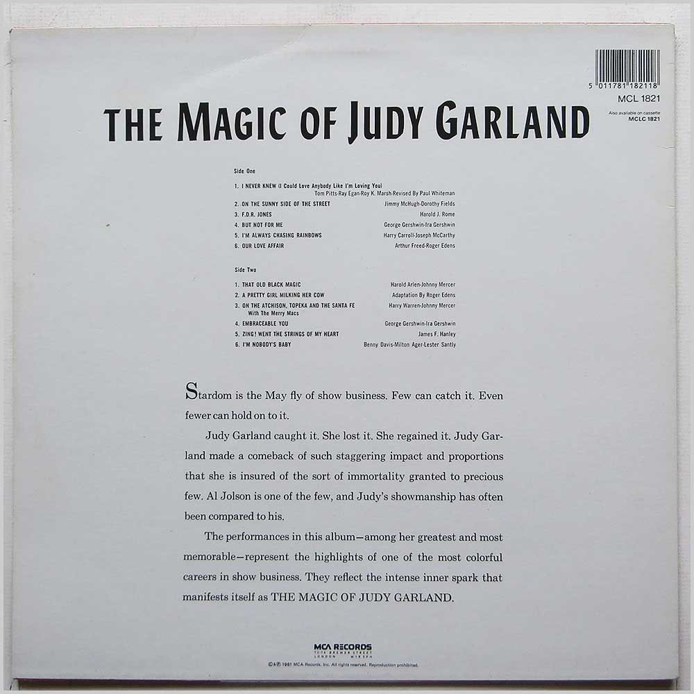 Judy Garland - The Magic Of Judy Garland (MCL 1821)
