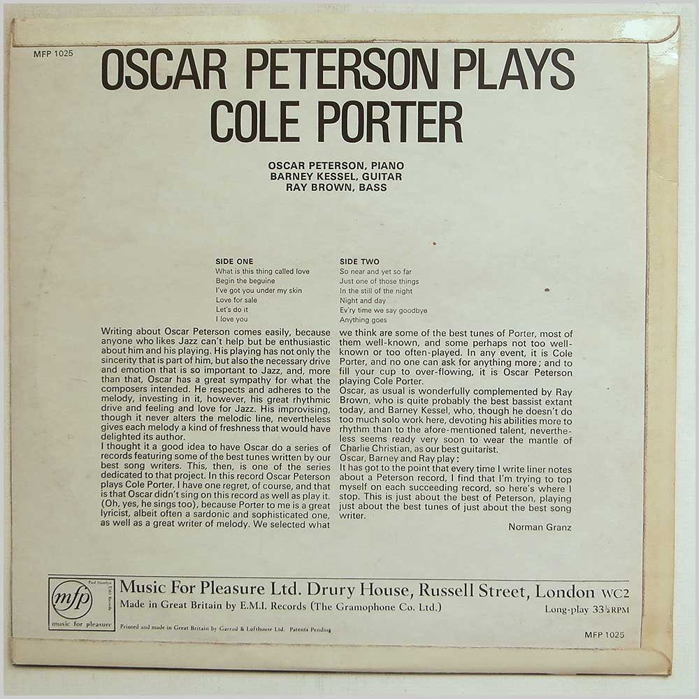 Oscar Peterson - Oscar Peterson Plays Cole Porter (MFP 1025)