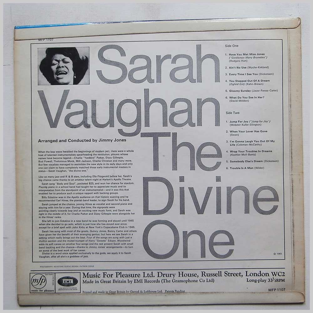Sarah Vaughan - The Divine One (MFP 1107)