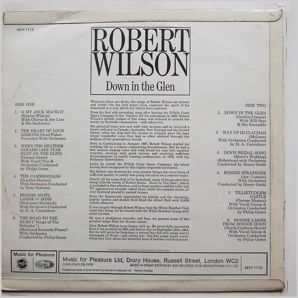 Robert Wilson - Down In The Glen (MFP 1115)