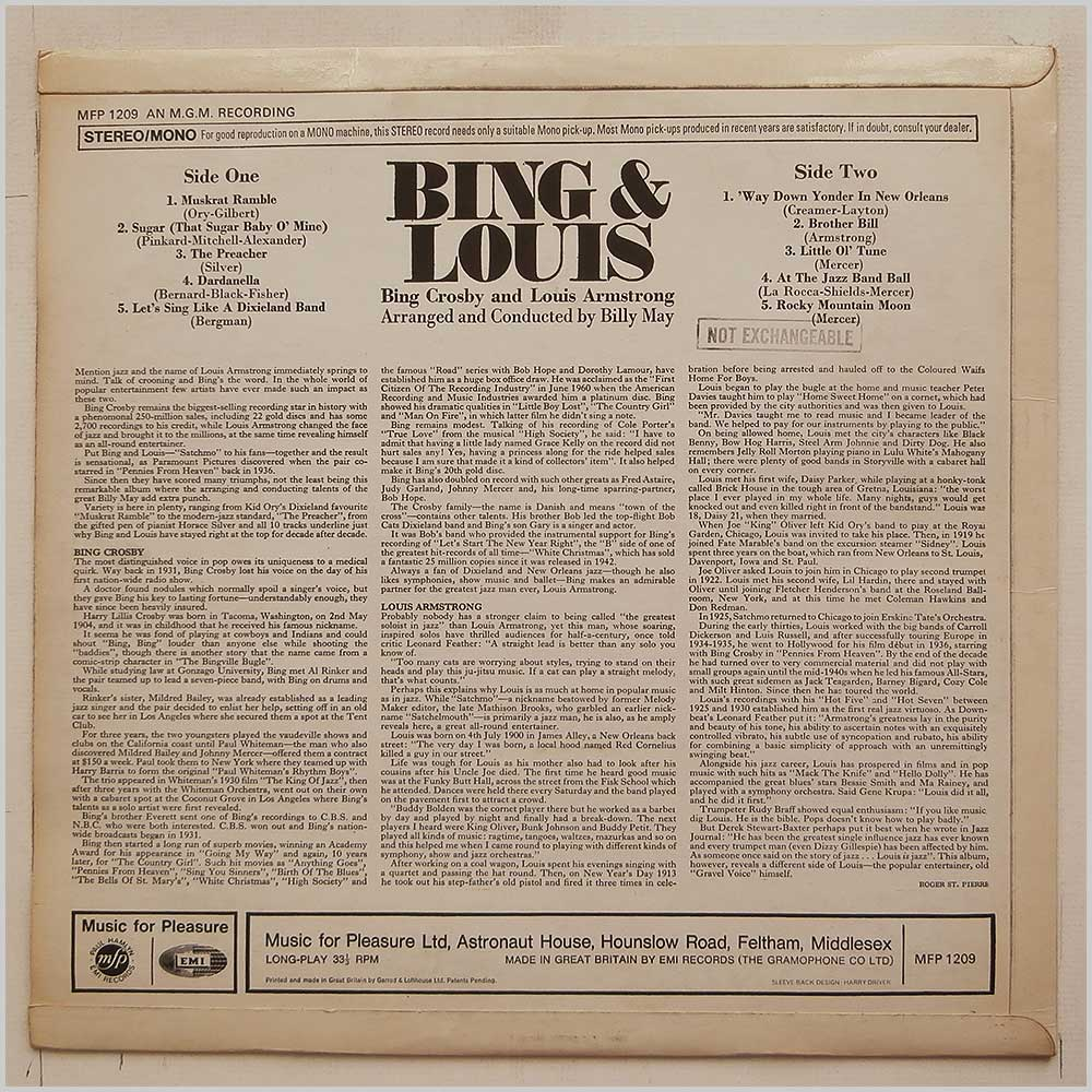 Bing Crosby, Louis Armstrong - Bing and Louis (MFP 1209)