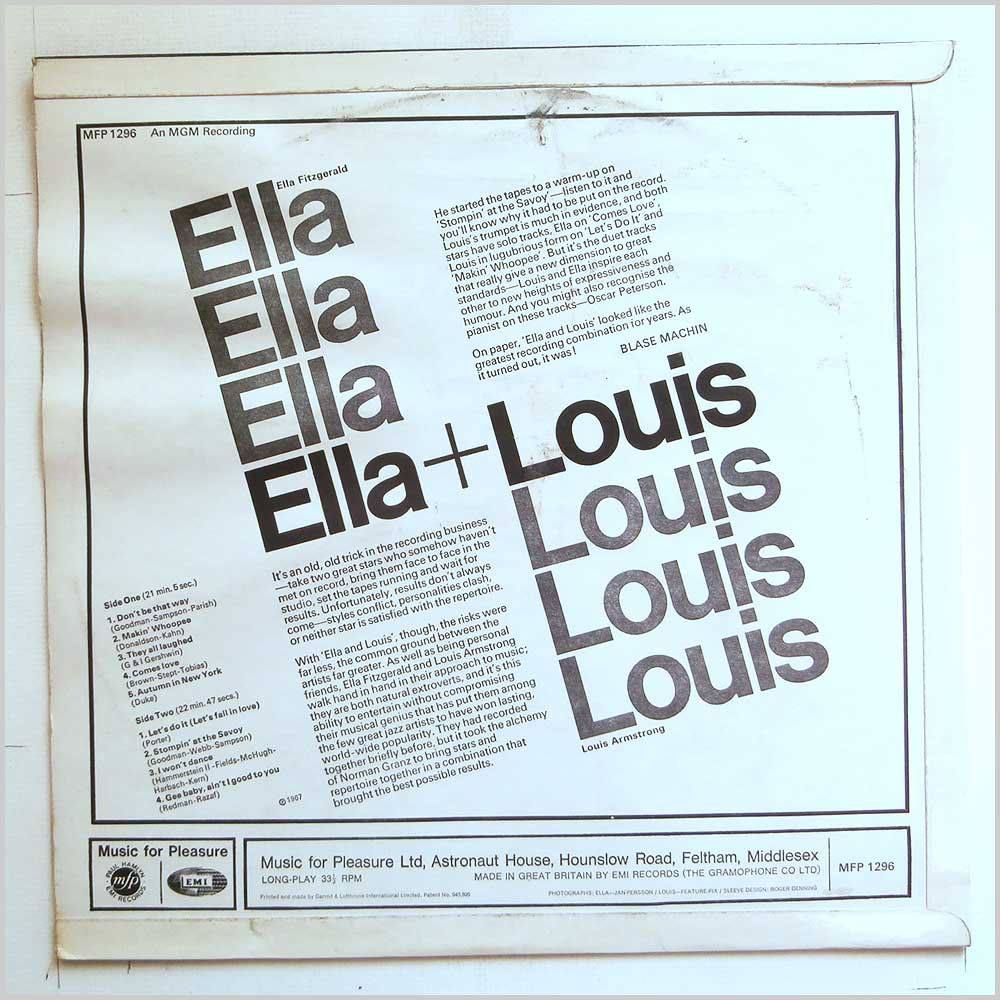 Ella Fitzgerald, Louis Armstrong - Ella and Louis (MFP 1296)