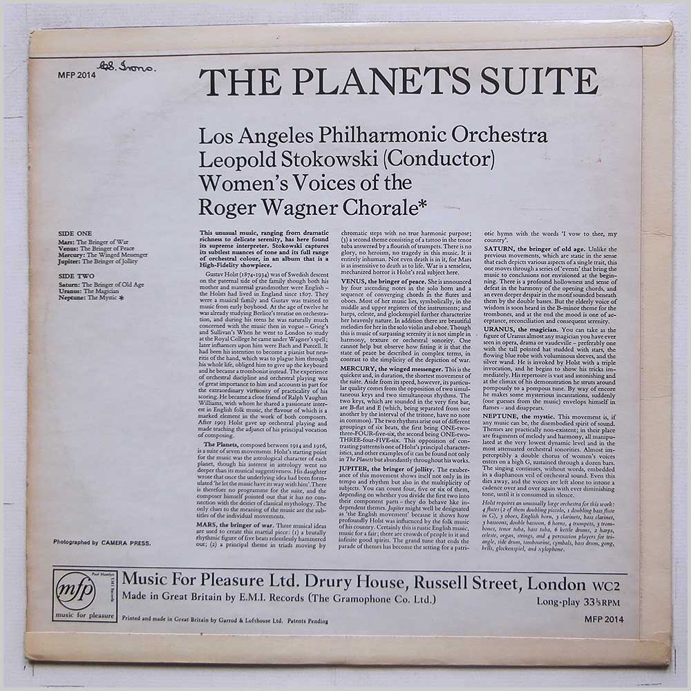 Leopold Stokowski, Los Angeles Philharmonic Orchestra - Gustav Holst: The Planets (MFP 2014)