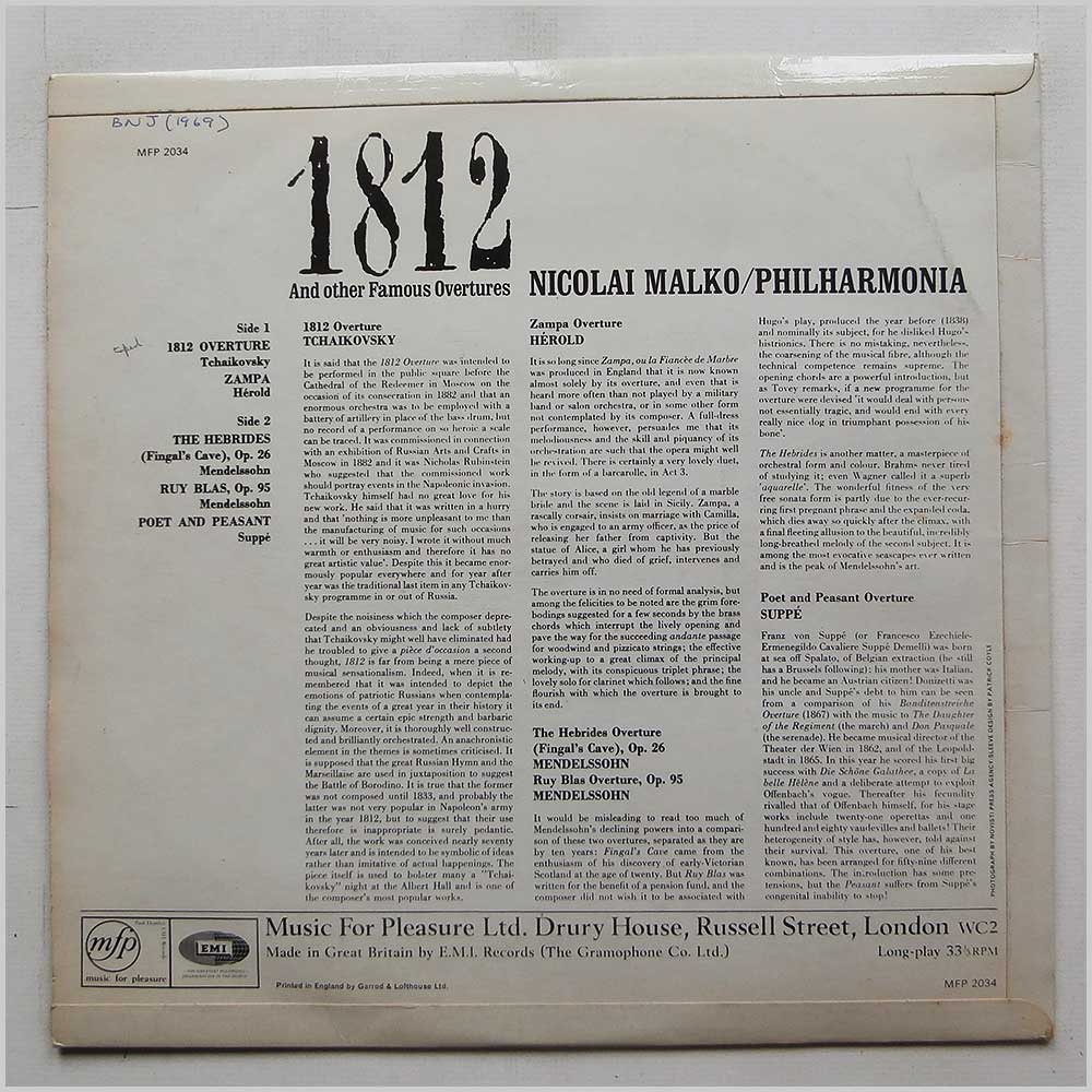 Nicolai Malko, Philharmonia - 1812 And Other Famous Overtures (MFP 2034)