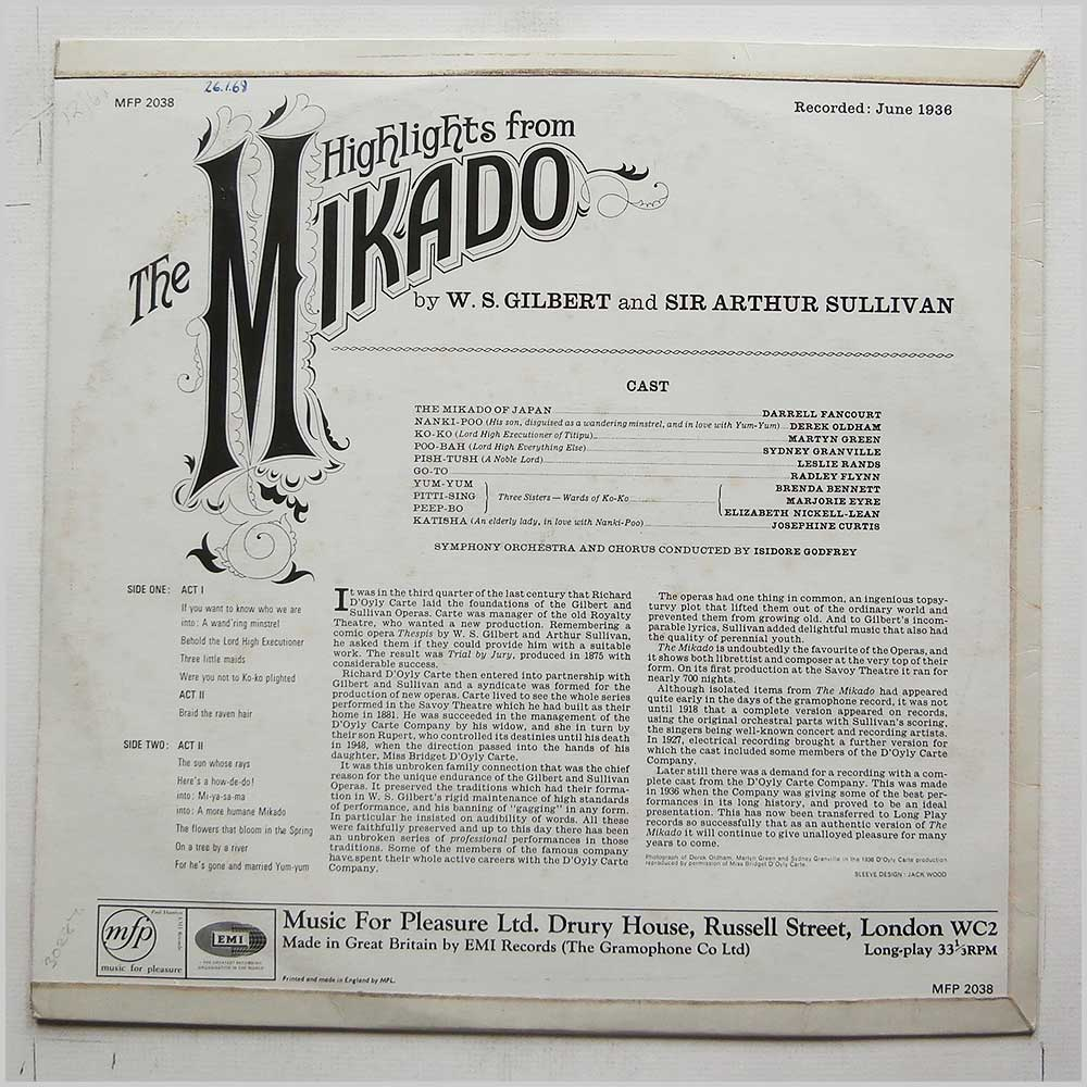 Isidore Godfrey - Gilbert and Sullivan: Highlights From The Mikado (MFP 2038)