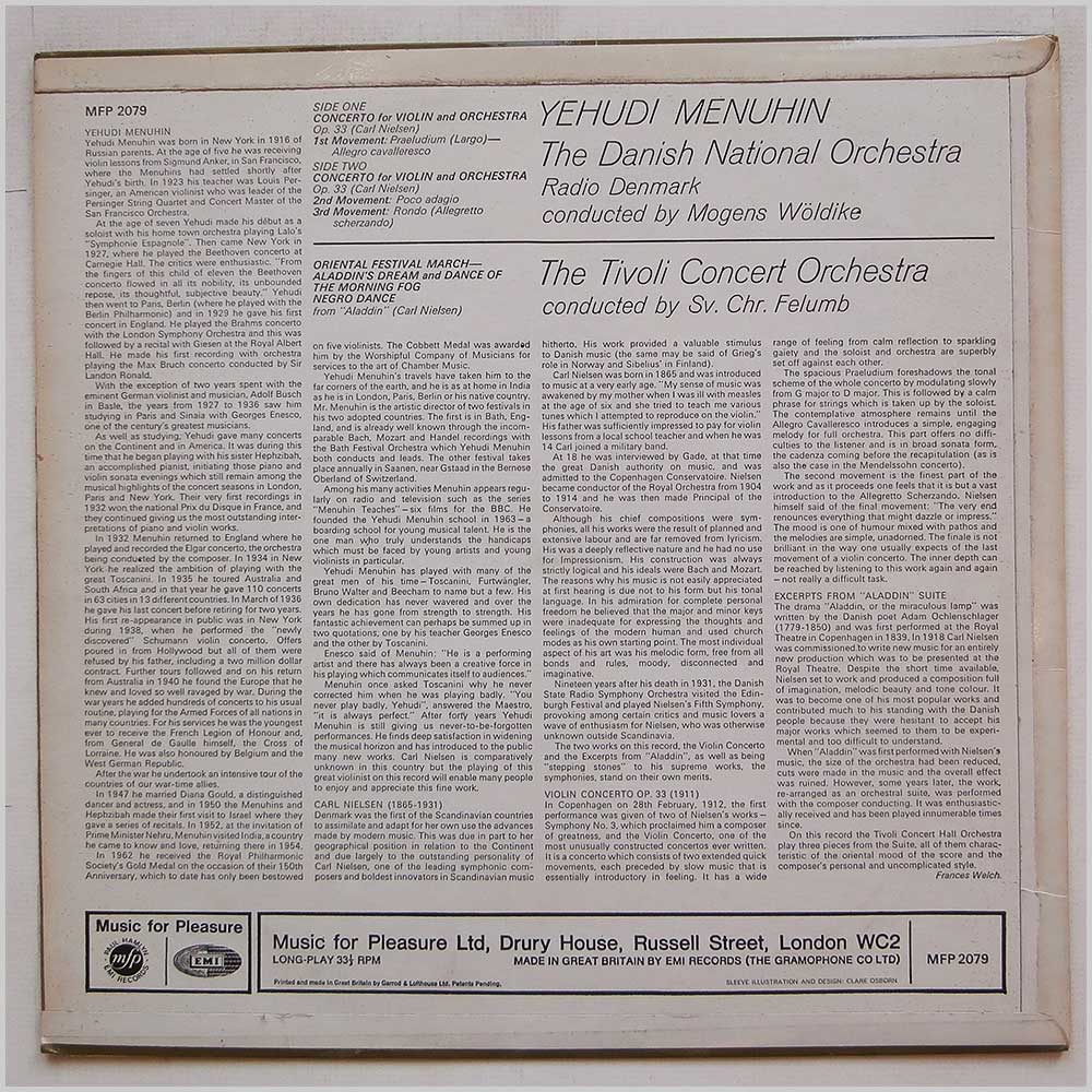 Yehudi Menuhin and The Danish National Orchestra - Carl Nielsen's Violin Concerto (MFP 2079)