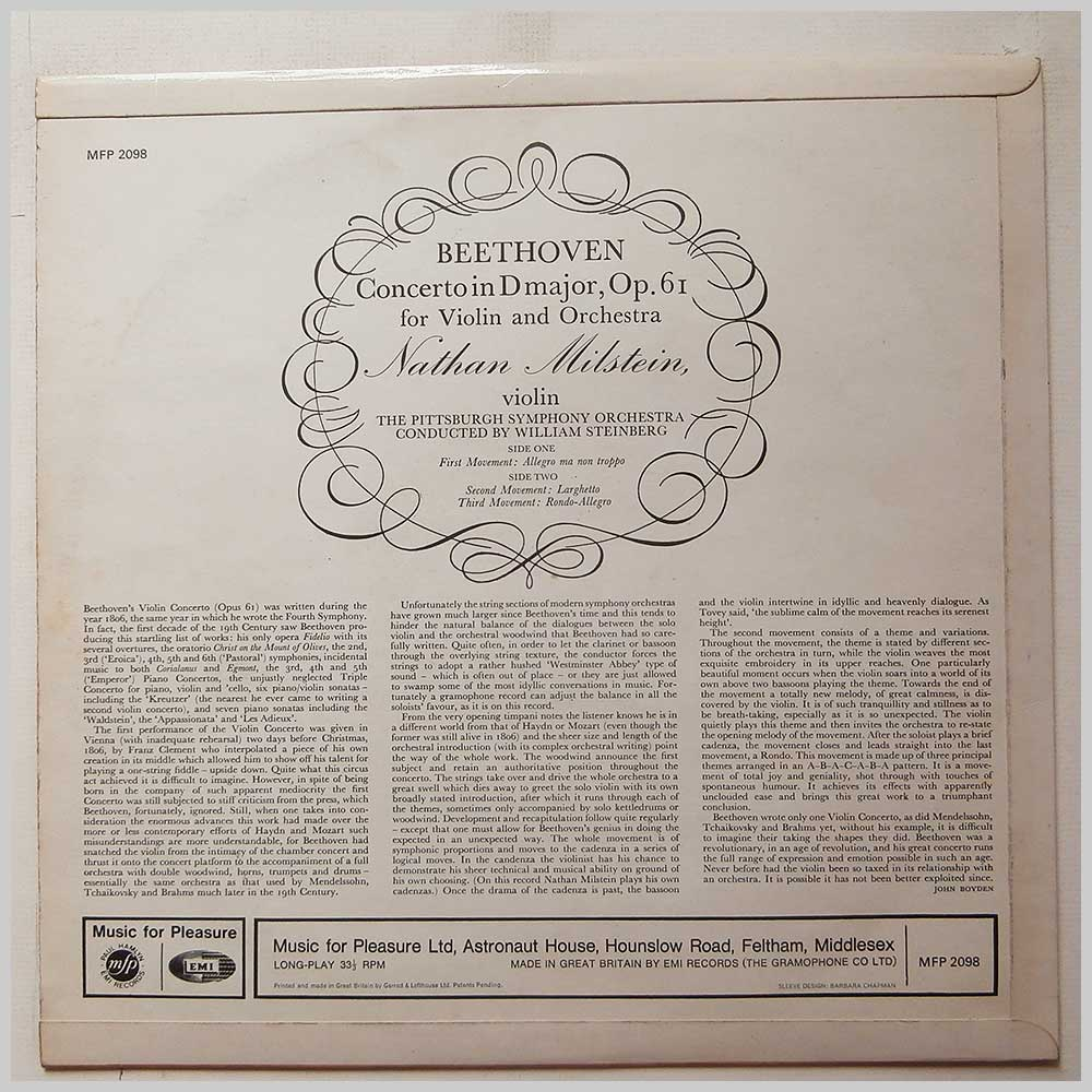 Nathan Milstein, William Steinberg, Pittsburgh Symphony Orchestra - Beethoven: Violin Concerto (MFP 2098)