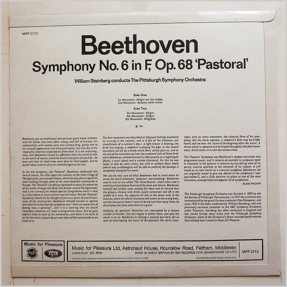 William Steinberg, The Pittsburgh Symphony Orchestra - Beethoven: Symphony No.6 Pastoral (MFP 2112)