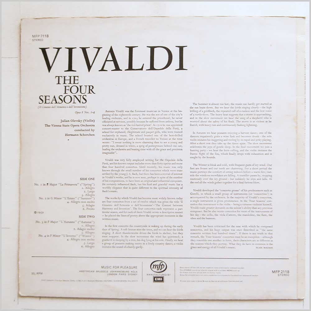 Hermann Scherchen, The Vienna State Opera Orchestra - Vivaldi: The Four Seasons (MFP 2118)