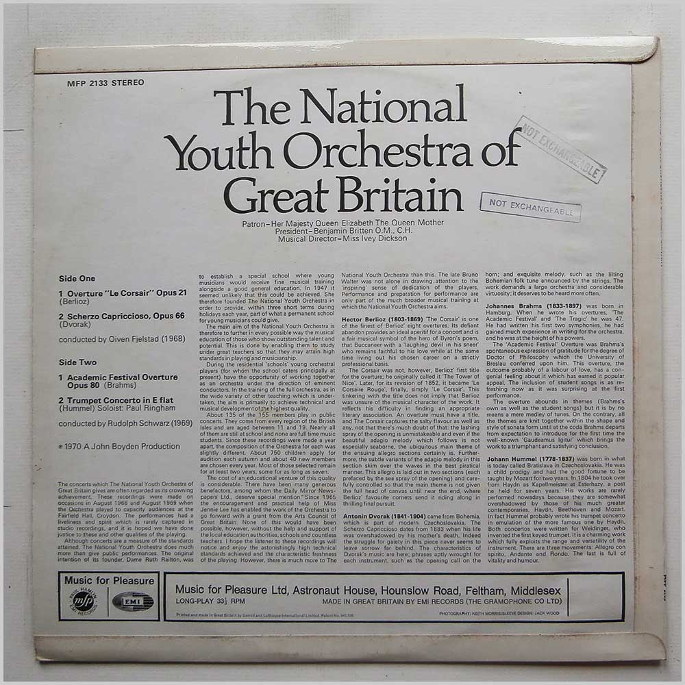 The National Youth Orchestra Of Great Britain - Berlioz, Dvorak, Brahms, Hummel (MFP 2133)