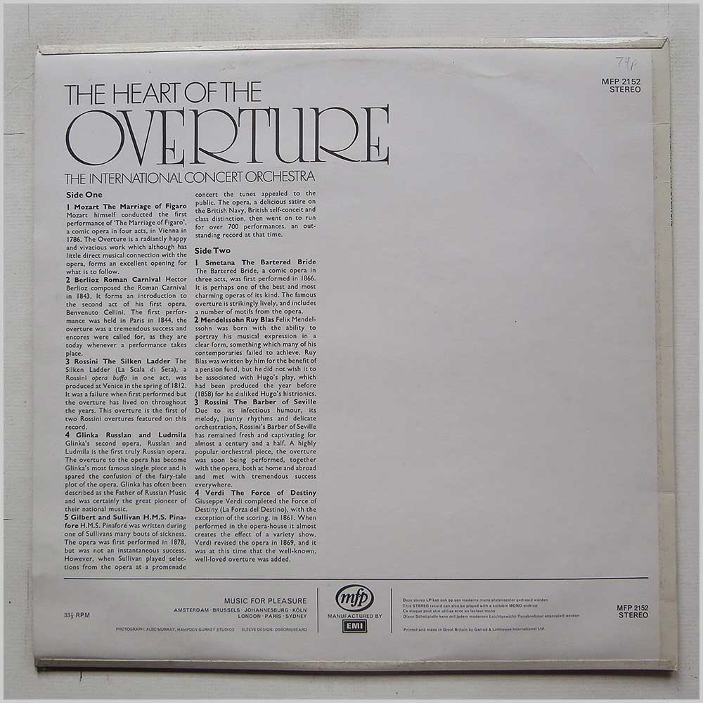 The International Concert Orchestra - The Heart Of The Overture (MFP 2152)