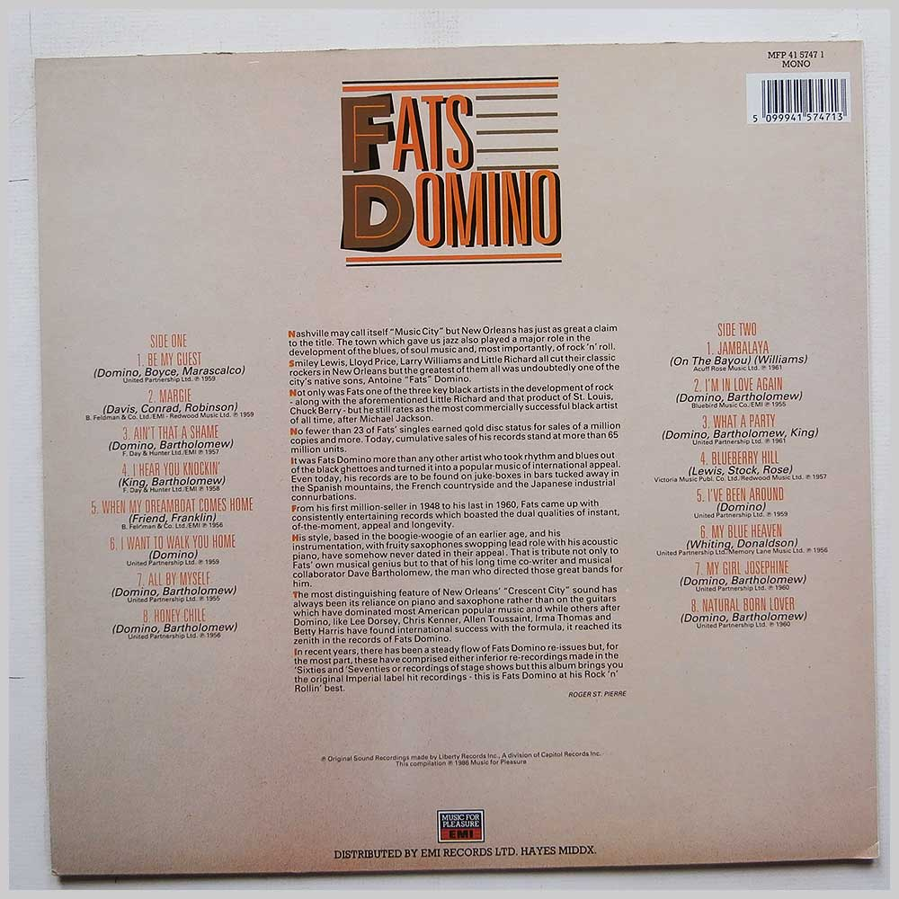 Fats Domino - Rock 'N' Roll Greats: 16 Great Tracks (MFP 41 5747 1)