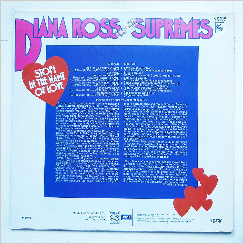 Diana Ross and the Supremes - Stop! In The Name Of Love (MFP 50291)