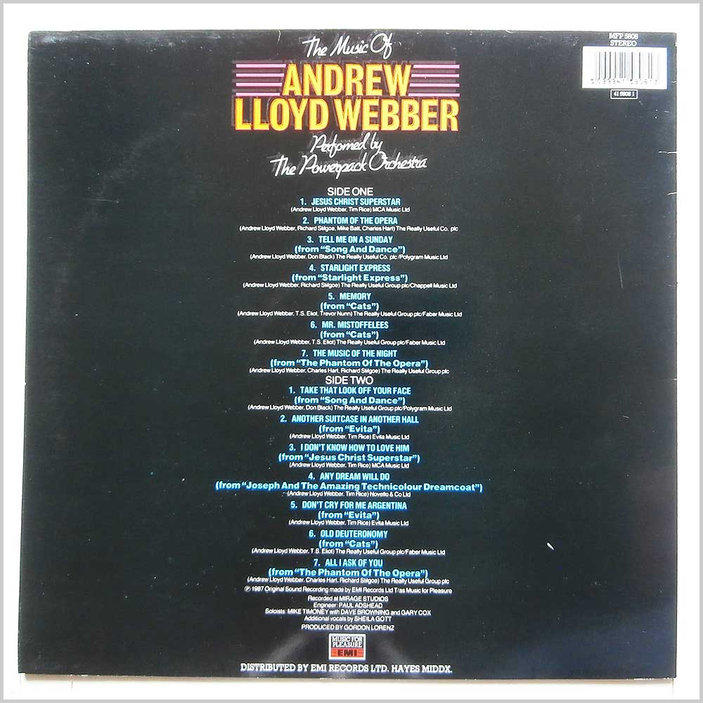 The Powerpack Orchestra - The Music Of Andrew Lloyd Webber (MFP 5808)
