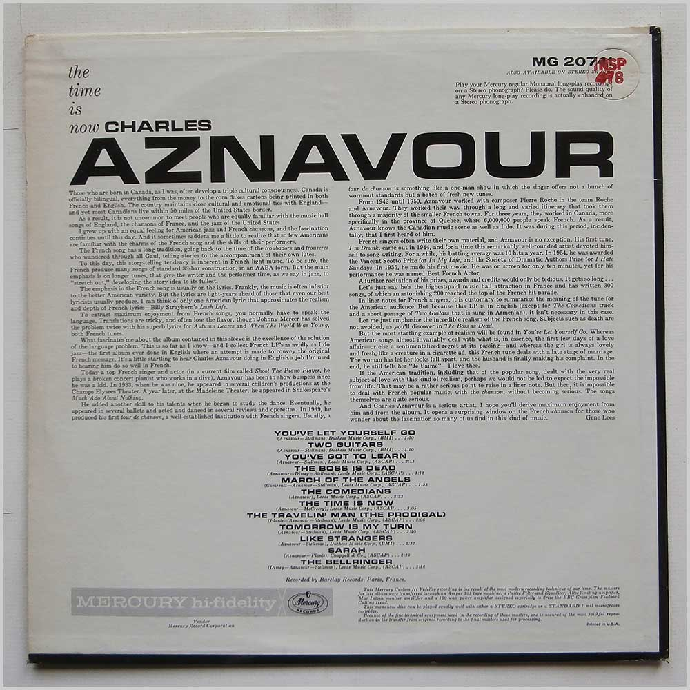 Charles Aznavour - The Time Is Now (MG 20741)