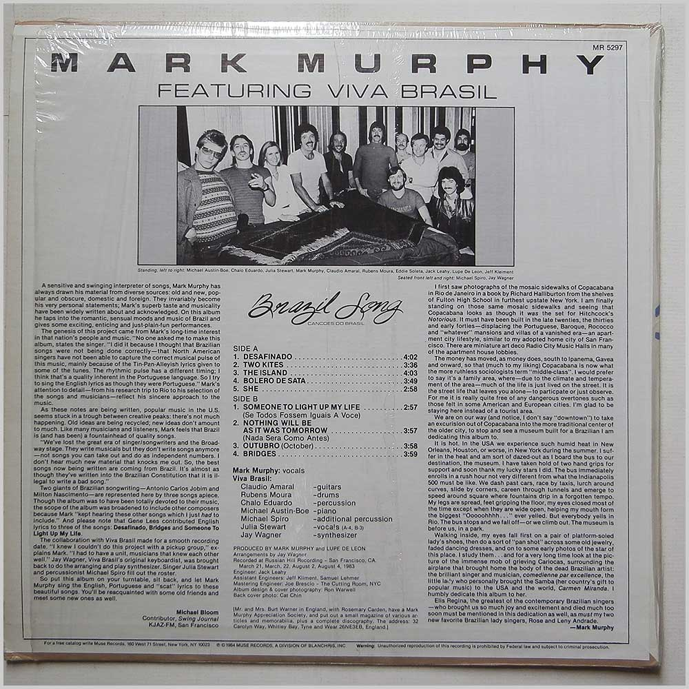 Mark Murphy - Brazil Songs, Cancoes Do Brasil (MR 5297)
