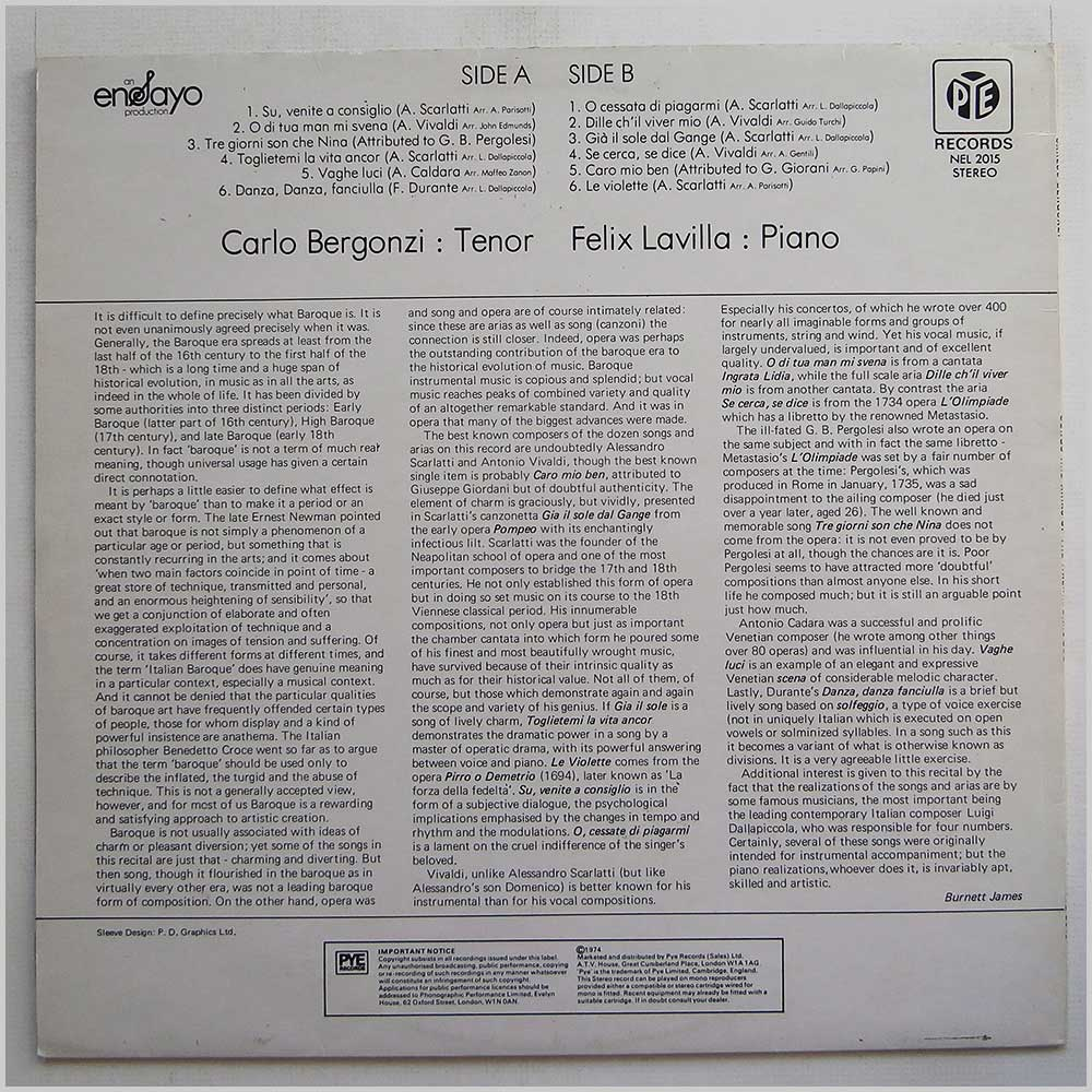 Carlos Bergonzi - Songs And Arias Of The Italian Baroque (NEL 2015)