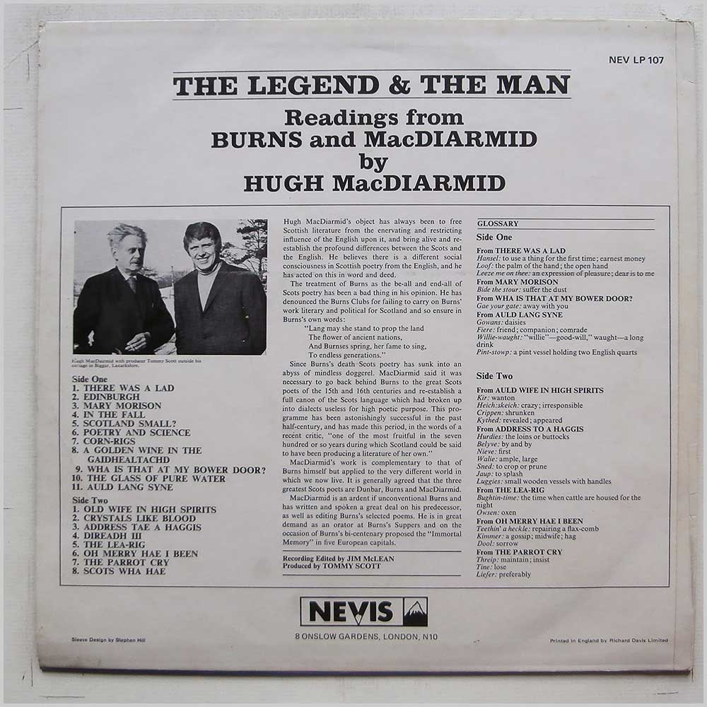 Hugh MacDiarmid - The Legend and The Man Readings From Burns and MacDiarmid (NEVLP 107)