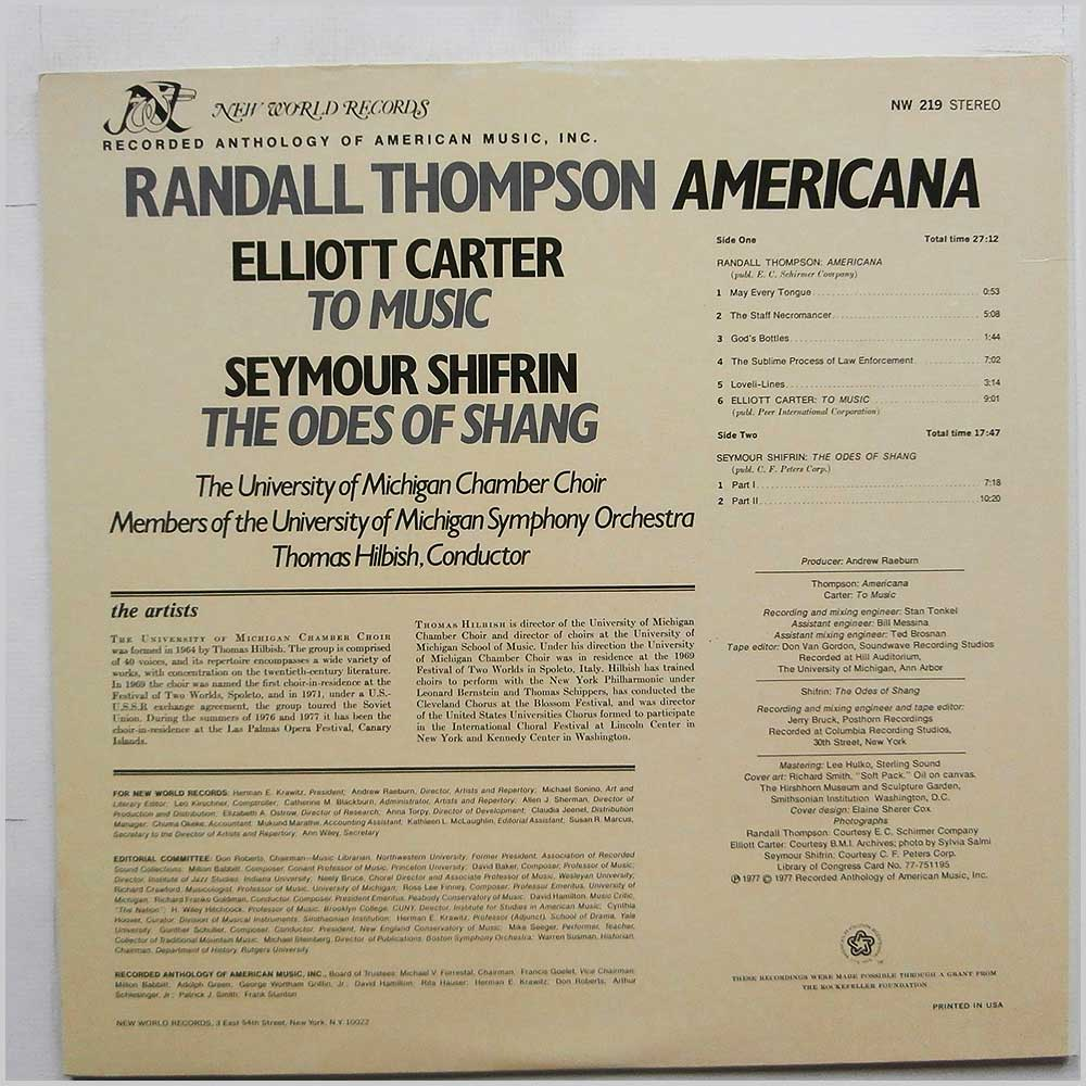 Randall Thompson, Seymour Shifrin, Elliott Carter - Americana: The Odes Of Shang: To Music (NW 219)