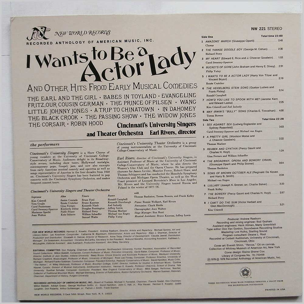Various - I Want's To Be A Actor Lady: And Other Hits From Early Musical Comedies (NW 221)
