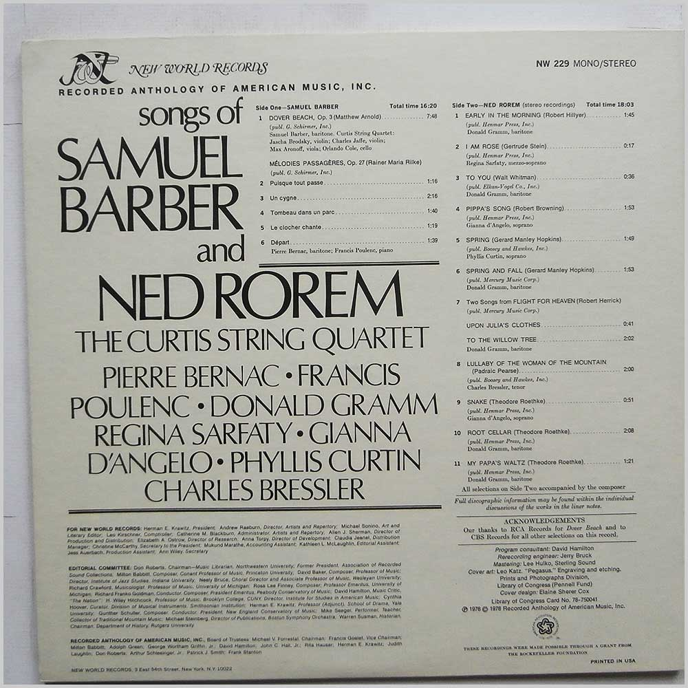 Samuel Barber and Ned Rorem - Songs of Samuel Barber and Ned Rorem (NW 229)