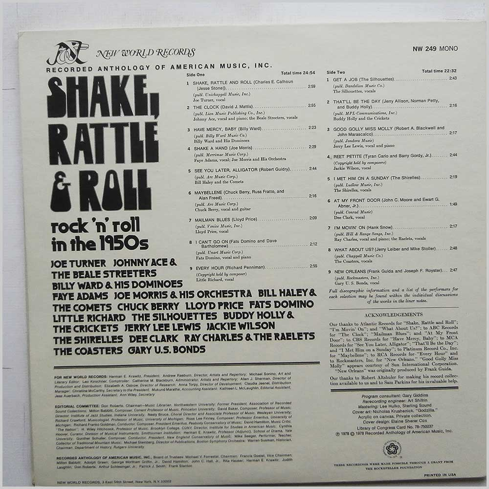 Various - Shake, Rattle And Roll: Rock 'N' Roll In The 1950s (NW 249)