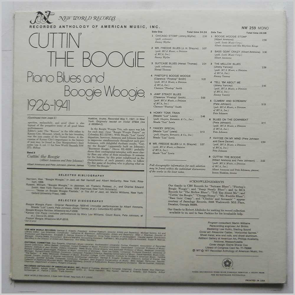 Various - Cuttin' The Boogie: Piano Blues and Boogie Woogie 1926-1941 (NW 259)