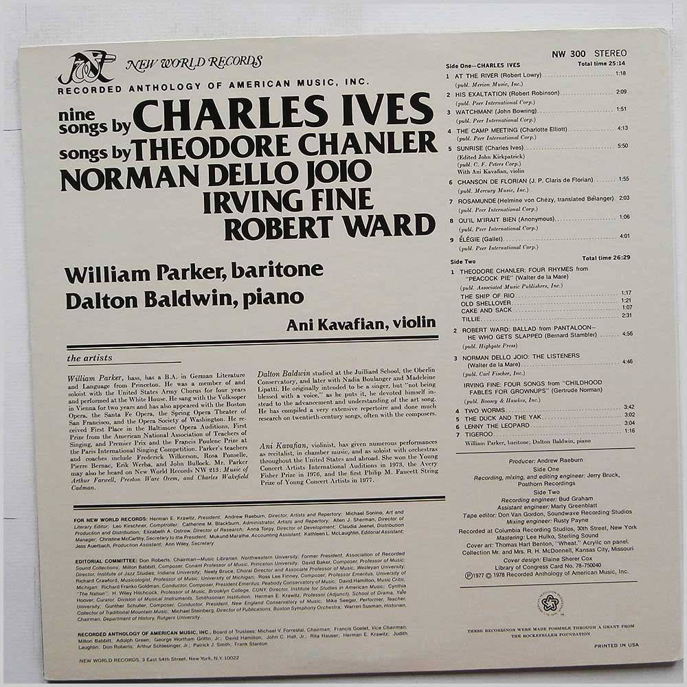 William Parker - Nine Songs By Charles Ives, Songs By Theodore Chanler, Norman Dello Joio, Irving Fine, Robert Ward (NW 300)