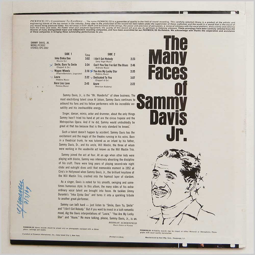Sammy Davis Jr - The Many Faces Of Sammy Davis Jr (PC 3002)