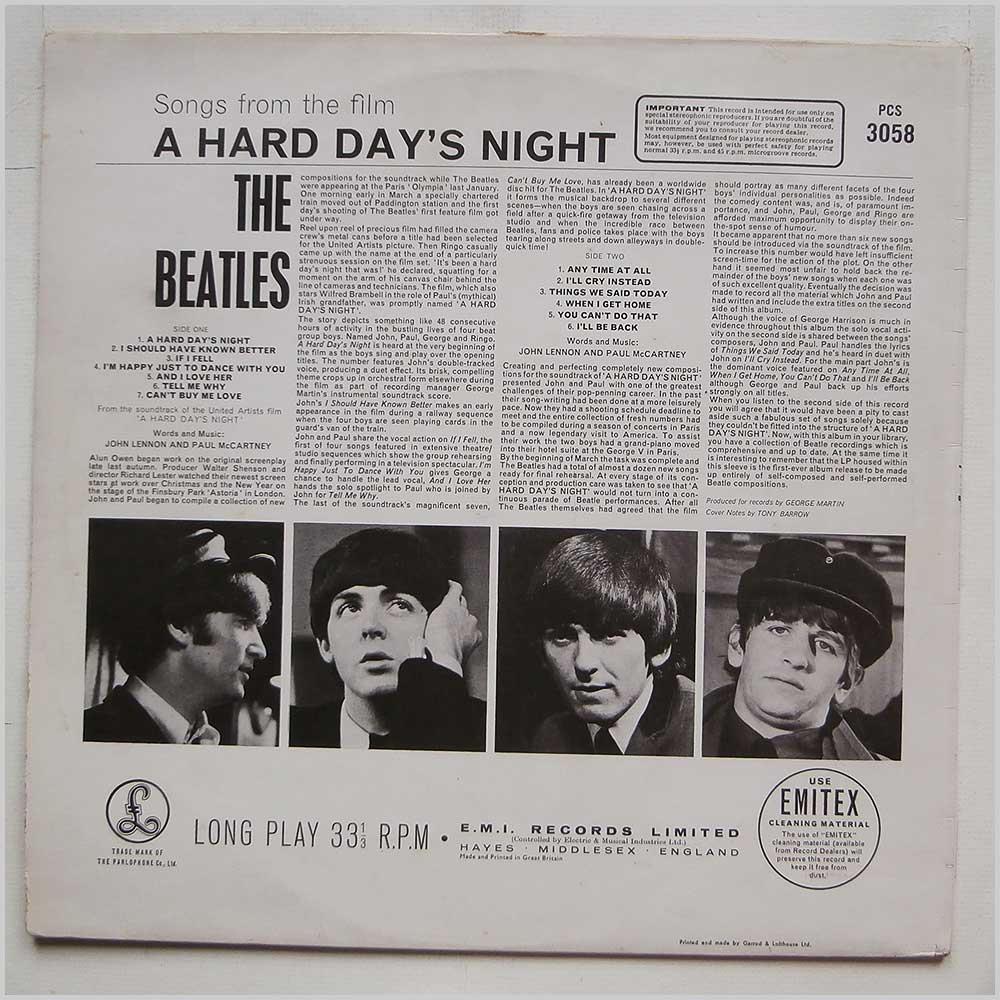 The Beatles - A Hard Day's Night (PCS 3058)