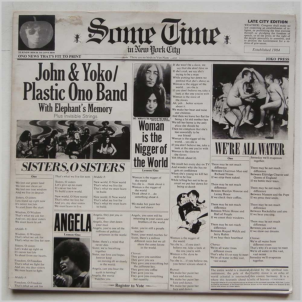 John Lennon, Yoko, Plastic Ono Band with Elephant's Memory and Invisible Strings - Some Time In New York City (PCSP 716)