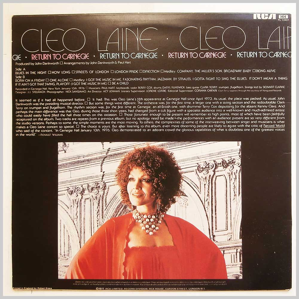Cleo Laine - Return To Carnegie (PL 12407)
