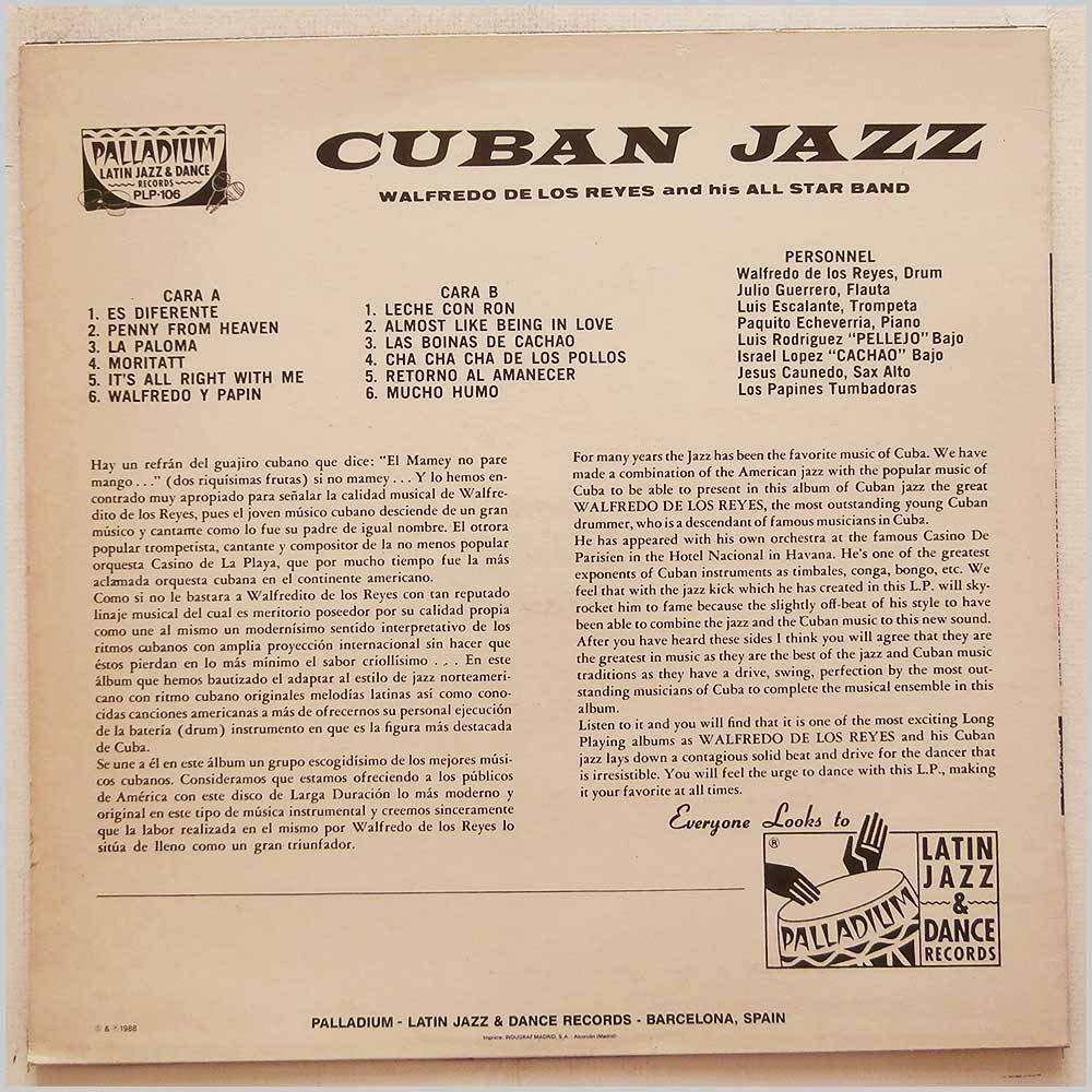 Walfredo De Los Reyes and His All Star Band - Cuban Jazz (PLP-106)