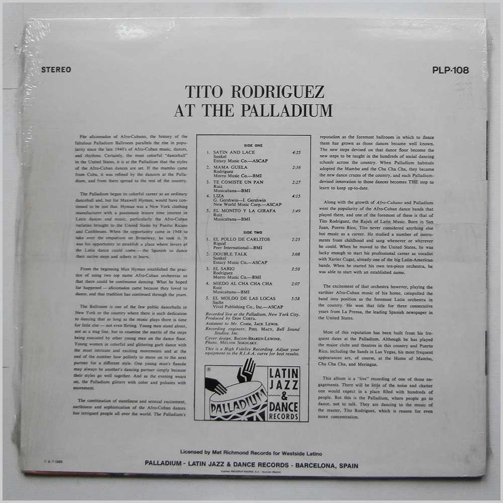 Tito Rodriguez and his Orchestra - Tito Rodriguez At The Palladium (PLP-108)