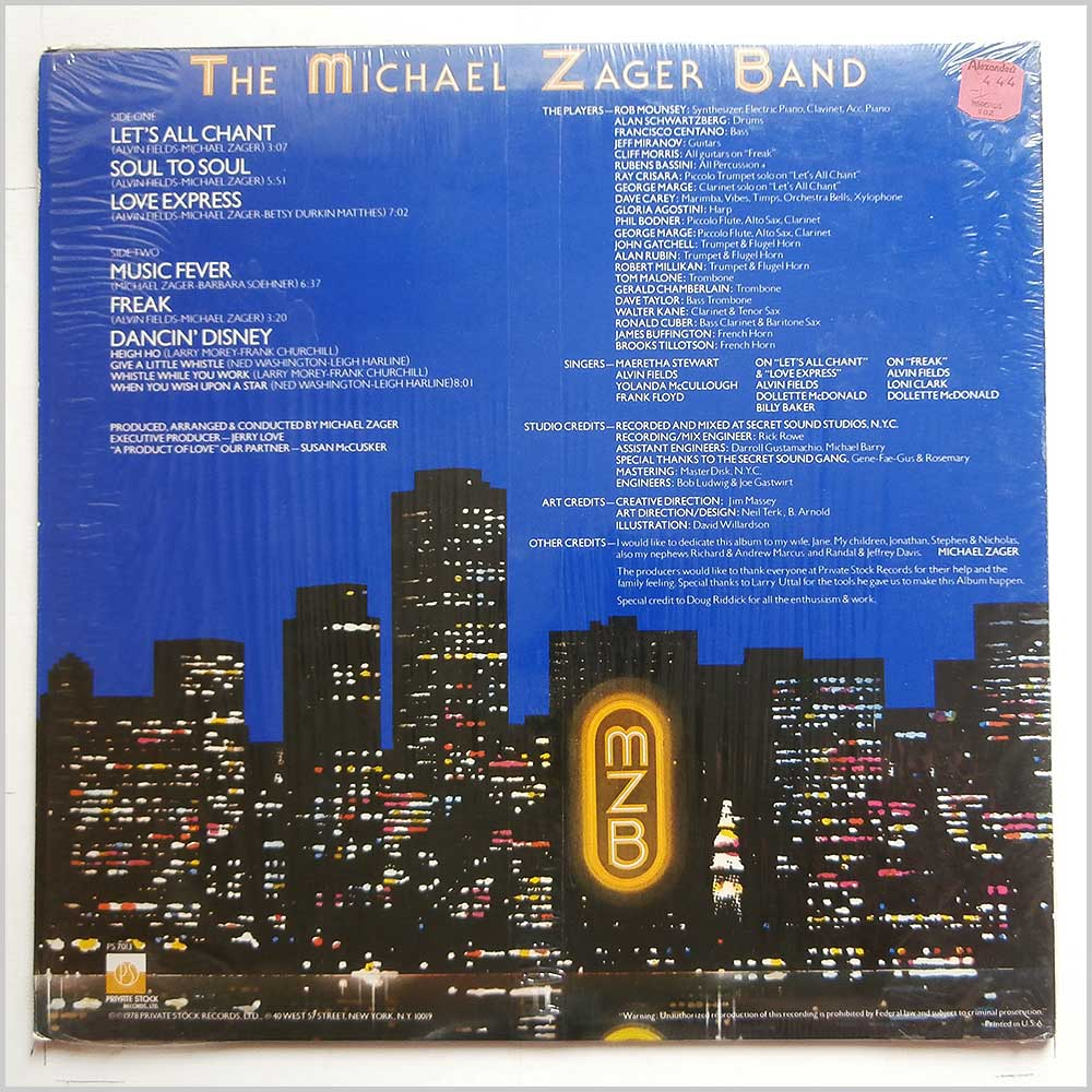 The Michael Zager Band - Let's All Chant (PS 7013)