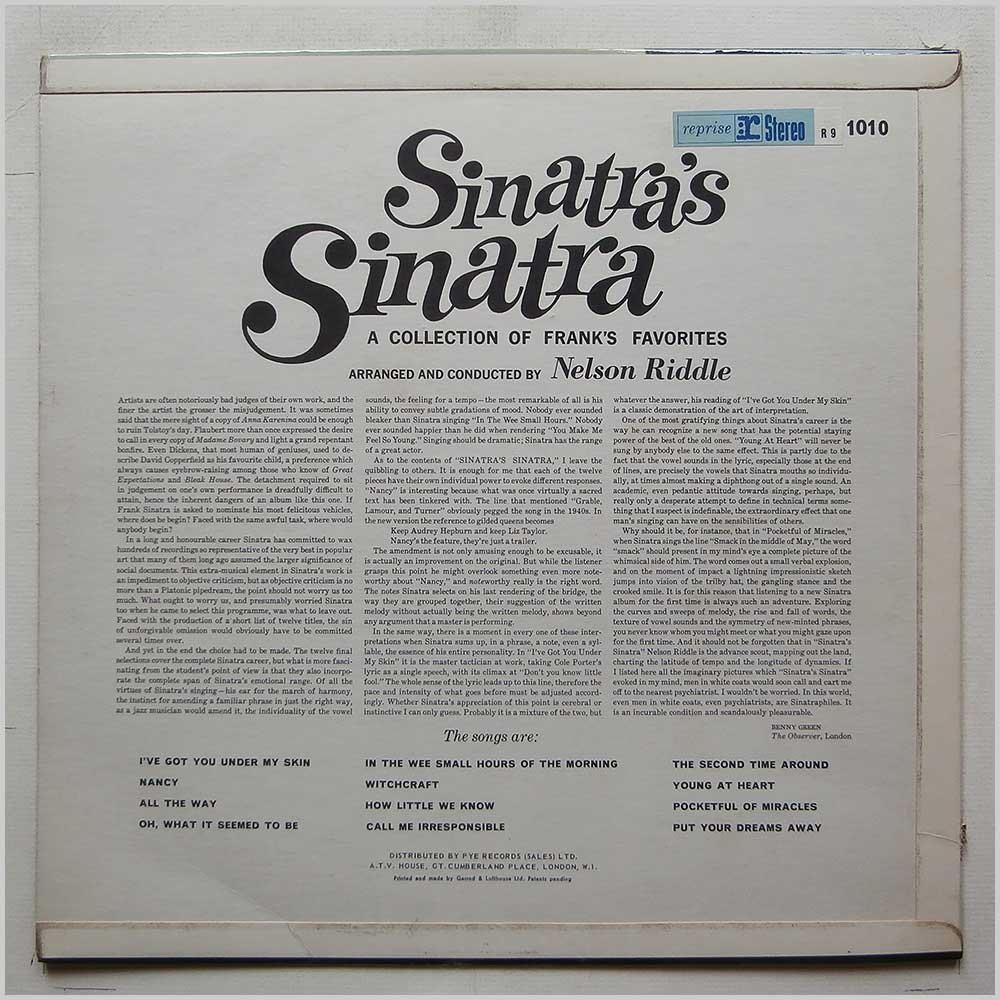 Frank Sinatra - Sinatra's Sinatra (A Collection Of Frank's Favourites) (R9 1010)
