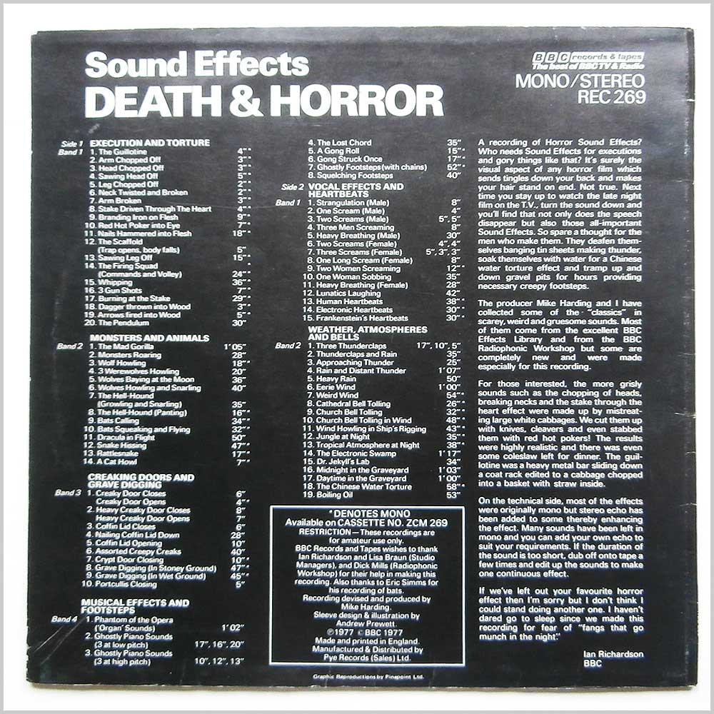 Mike Harding - BBC Records and Tapes Sound Effects No.13 Death And Horror (REC 269)