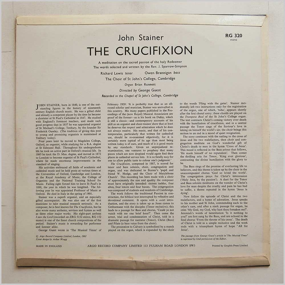 The Choir Of St. Johns College Cambridge - John Stainer: The Cruxifiction (RG 320)