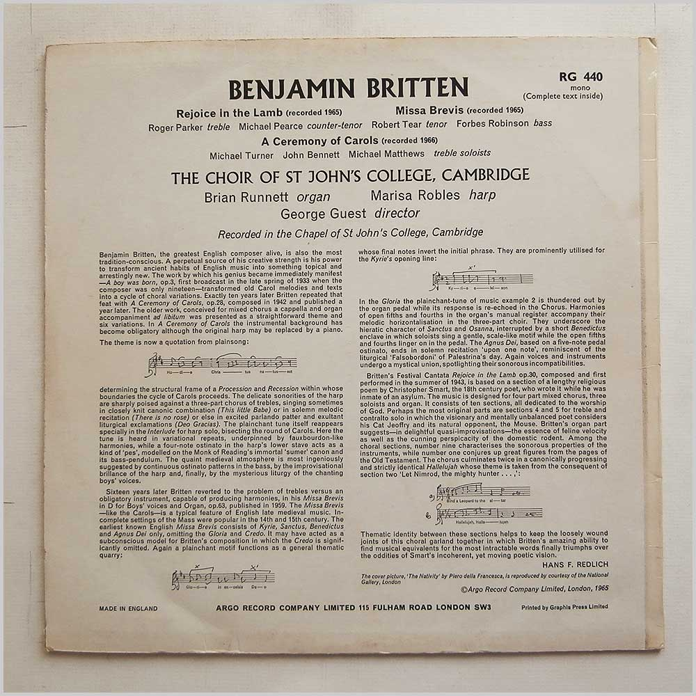The Choir Of St John's College Cambridge - Benjamin Britten: Rejoice In The Lamb, Missa Brevis, A Ceremony Of Carols (RG 440)