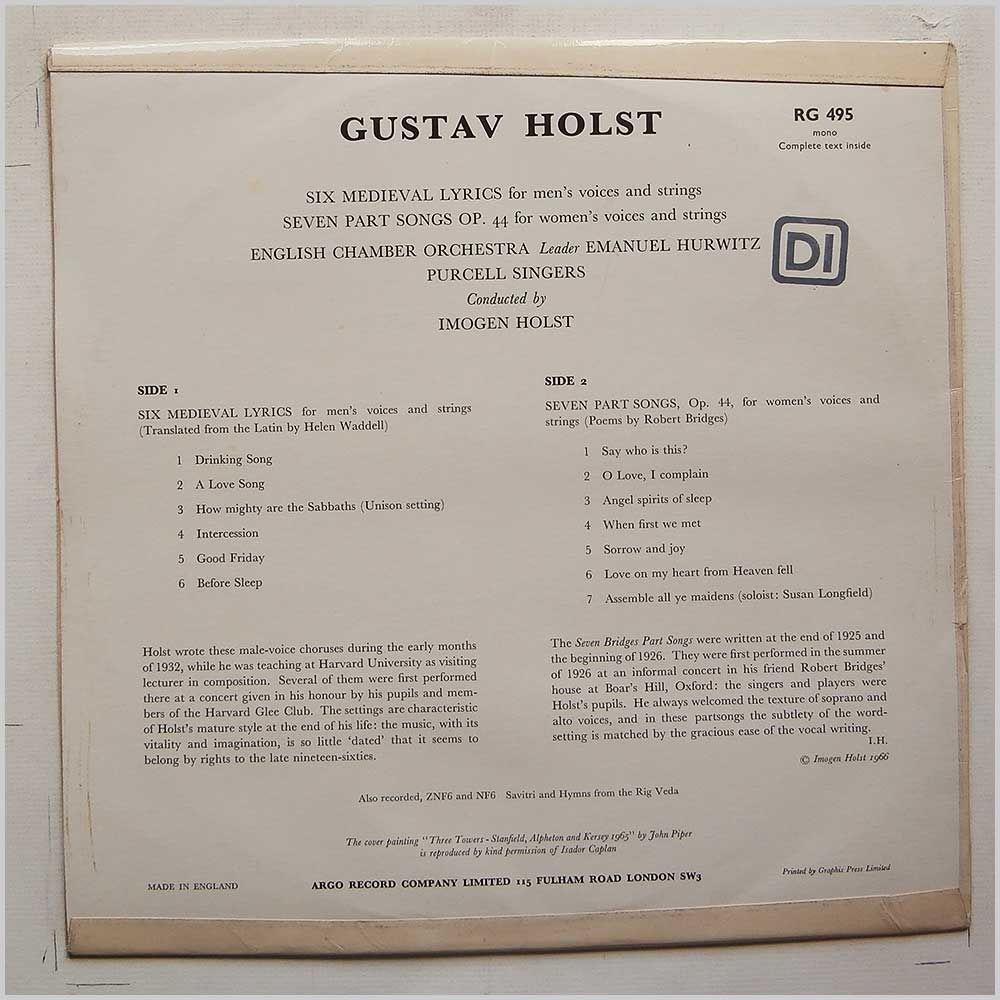 Imogen Holst, English Chamber Orchestra Purcell Singers - Gustav Holst: Six Medieval Lyrics For Mens Voices and Strings, Seven Part Songs Op.44 For Womens Voices and Strings (RG 495)
