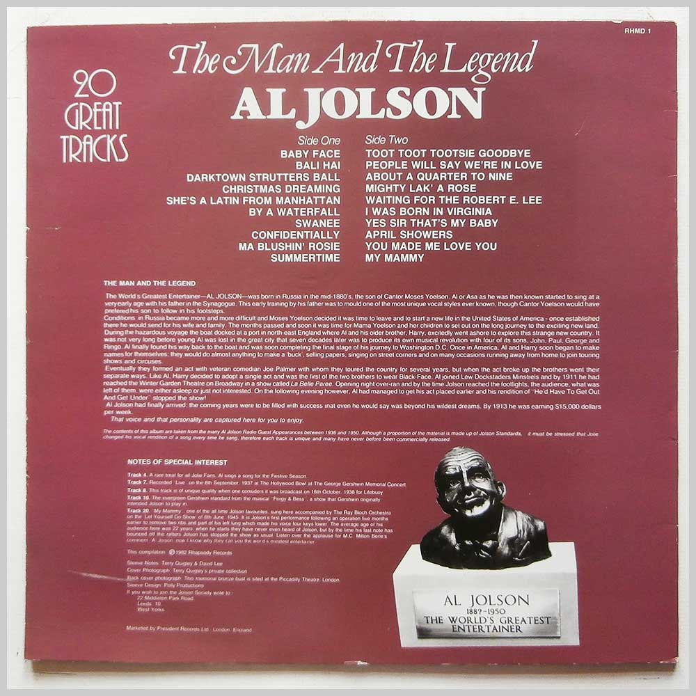 Al Jolson - The Man and The Legend [Record 1] (RHMD 1)