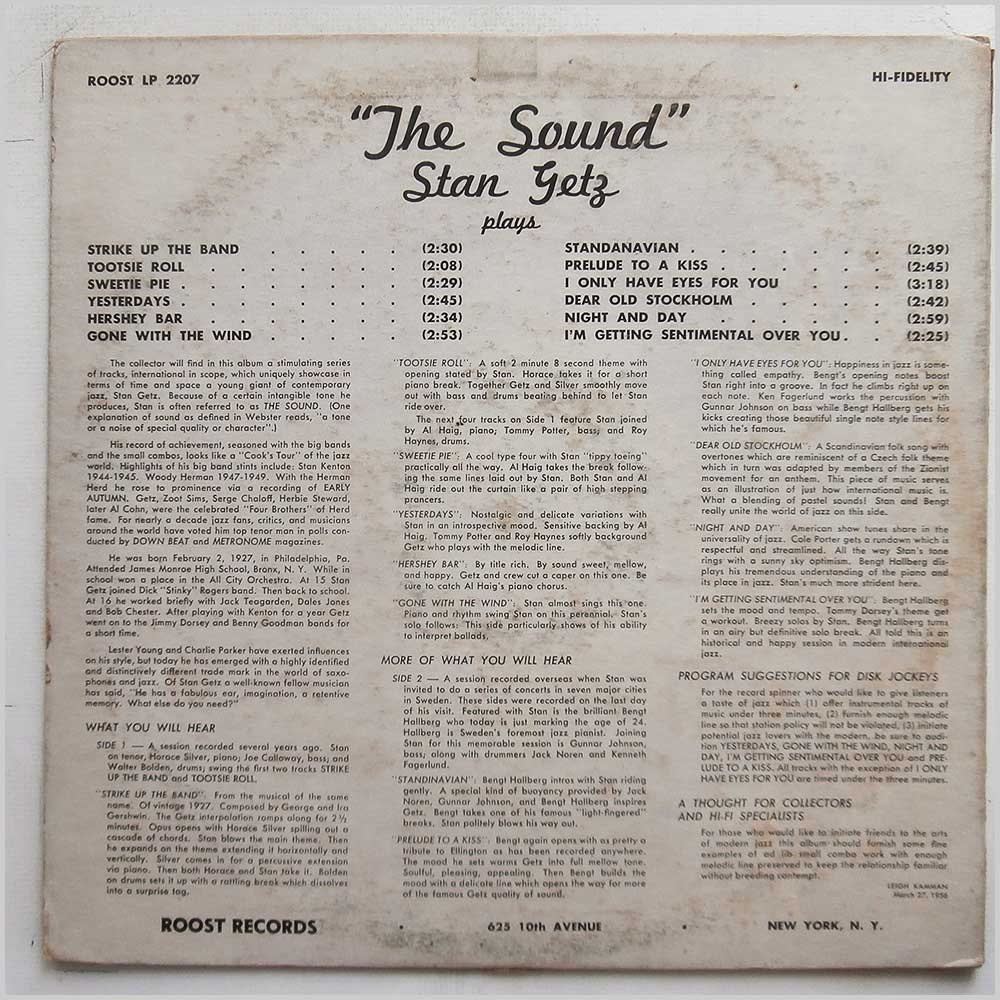 Stan Getz - The Sound (ROOST LP 2207)