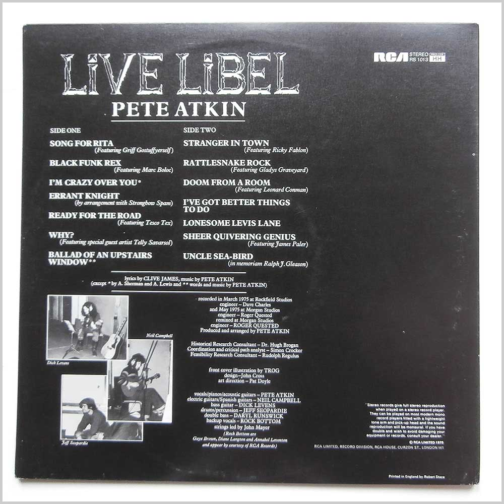 Pete Atkin - Live Libel (RS 10113)