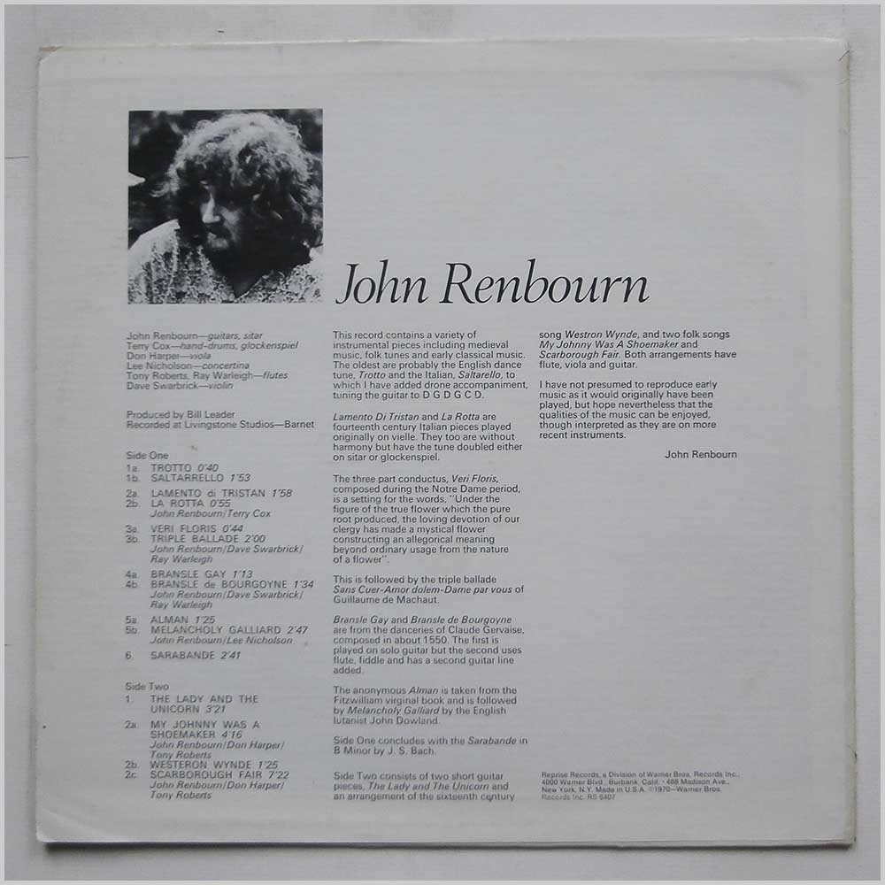 John Renbourn - The Lady And The Unicorn (RS6407)