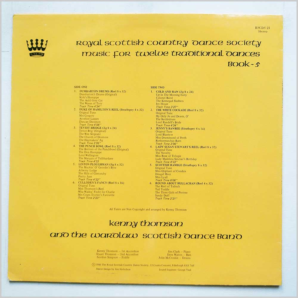 Kenny Thompson And The Wardlaw Scottish Dance Band - Music For Twelve Traditonal Dances Book 5 (RSCDS 21)