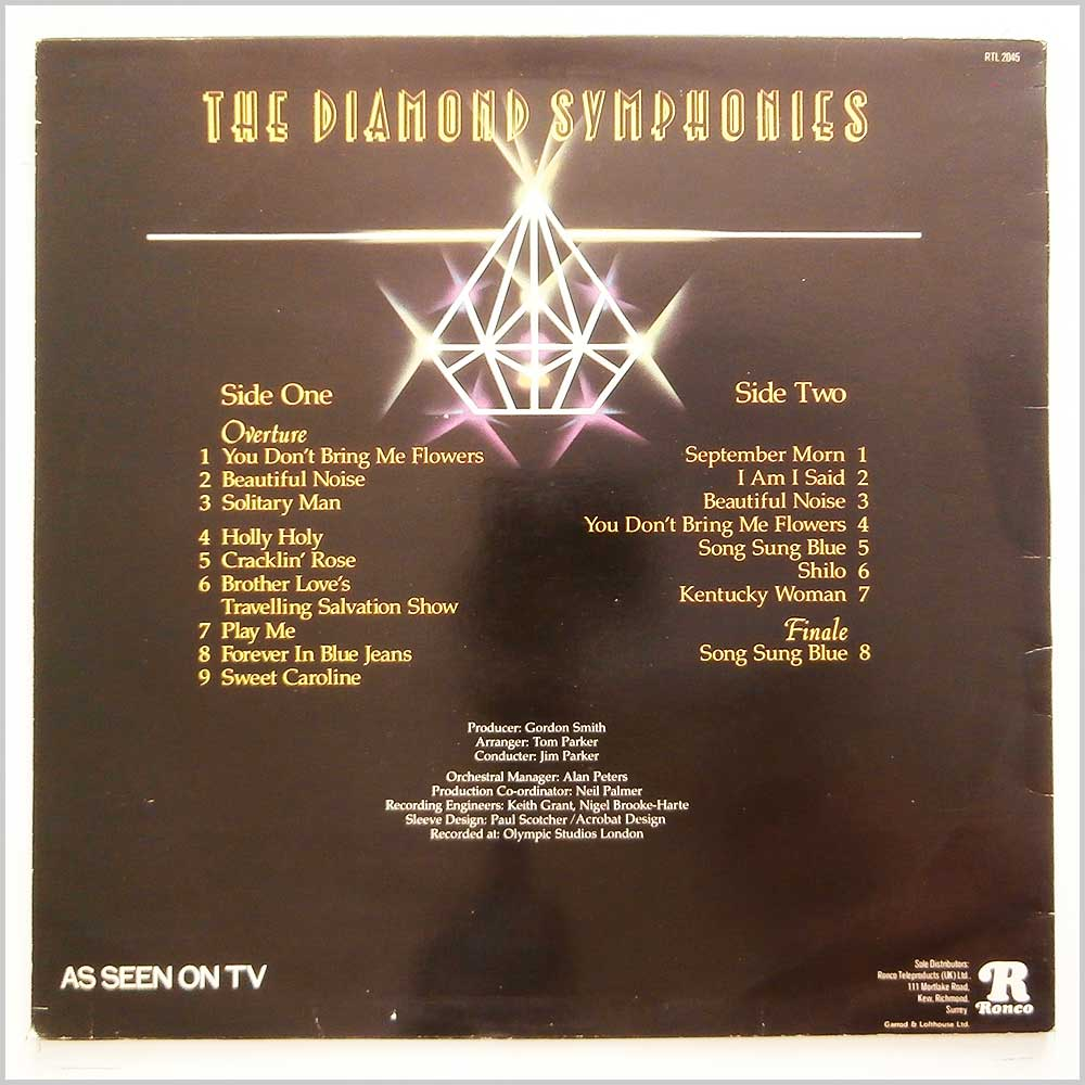The London Philharmonic Orchestra - The Diamond Symphonies: The Hits of Neil Diamond (RTL 2045)